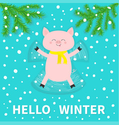 hello winter pig laying on back making snow angel vector image