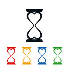 hourglass and heart icons vector image