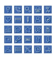 Icon set e-Commerce flat linear design shopping vector