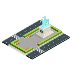 Isometric monument in city park bust the vector