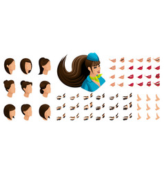 Isometry stewardess girl set emotions creation vector
