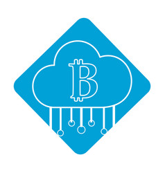 Label cloud data center with bicoin symbol vector