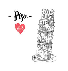 Leaning tower pisa hand drawn sketch with vector