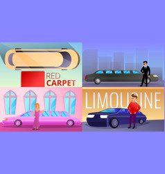 Limousine banner set cartoon style vector