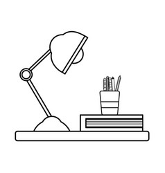 Line wood shelf with desk lamp and office utensils vector