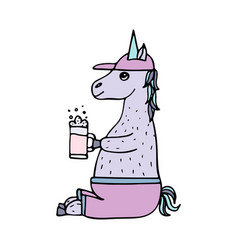lovely hand-drawn unicorn-football fan vector image