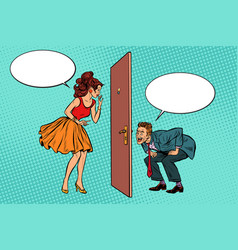 Man and woman looking through a door voyeurism vector