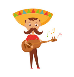 mexican boy with mustache and sombrero playing the vector image