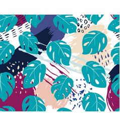 monstera leaf abstract seamless pattern texture vector image