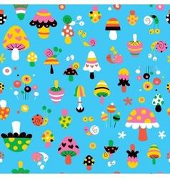 Mushrooms snails cute kids pattern vector