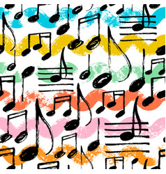 Music notes seamless pattern with waves vector