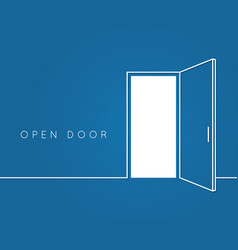 open door line concept blue room logo vector image