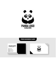 Panda logo template free business card mockup vector