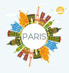 Paris skyline with color buildings blue sky vector
