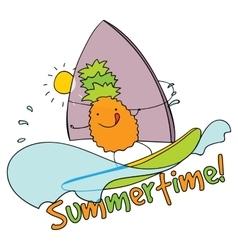 Pineapple windsurfing summertime vector