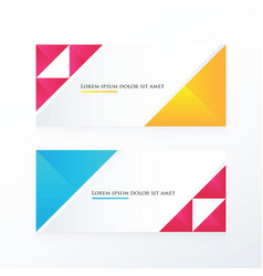 Pink yellow blue triangle banner vector