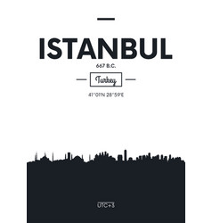 poster city skyline istanbul flat style vector image