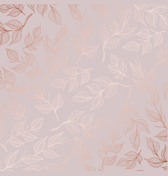Rose gold pattern with branches vector