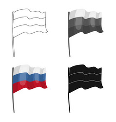 Russian flag icon in cartoon style isolated on vector