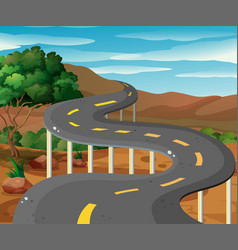 Scene with road in the mountain vector
