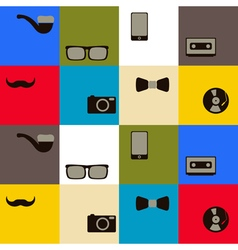 seamless background with different hipster objects vector image