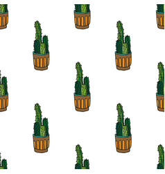 seamless pattern with cactus in pot seamless vector image