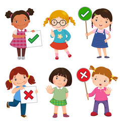 set of girls holding and doing right and wrong vector image