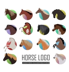 Set of Horse Logo Flat Style vector