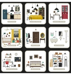 Set of interior rooms vector image