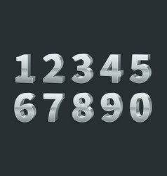 silver 3d numbers realistic shiny metallic number vector image