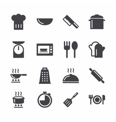 simple cooking and kitchen icons vector image