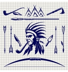 Sketch of native american indian vector