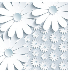 Stylish grey background with pattern 3d chamomile vector image