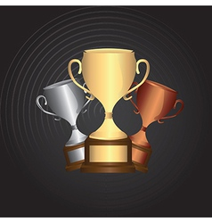Three different trophy over black background vector