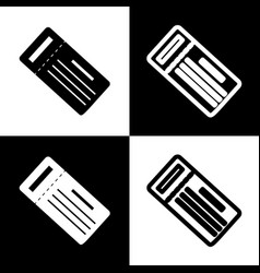 ticket simple sign black and white icons vector image
