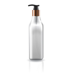 Transparent cosmetic square bottle with pump head vector