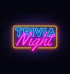 trivia night neon sign quiz time design vector image
