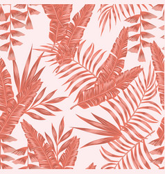 tropical living coral leaves seamless pattern vector image