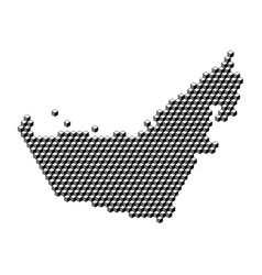 United arab emirates map from 3d black cubes vector
