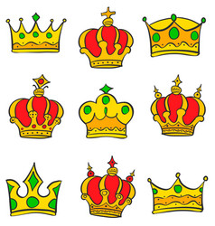 Various style crown of doodle collection vector