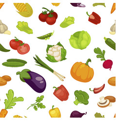 vegetables aubergine and pumpkin set seamless vector image