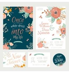 vintage romantic floral save date invitation vector image