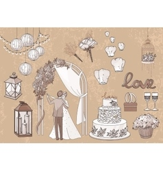 Vintage set of hand drawn wedding elements vector