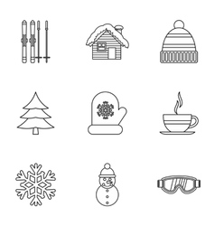 Weather winter icons set outline style vector