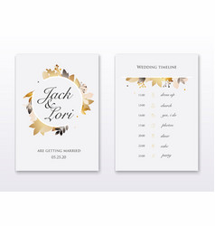 wedding invitation cards with gold leafs save the vector image