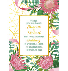 Wedding invitation with protea and greenery on vector