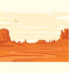 Western desert landscape with winding dirt road vector