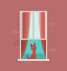 Window with pet apartment building with cat in vector