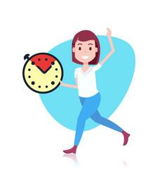 Woman character holding deadline clock template vector