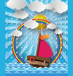 Yacht on sea with rain vector